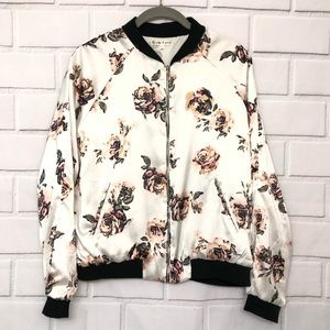 Truly 4 You White Black Floral Print Bomber Jacket